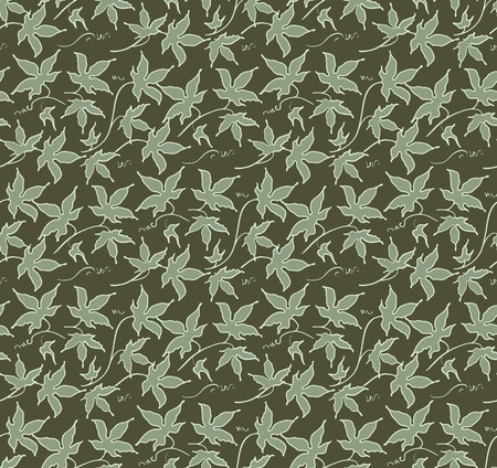 Vintage floral seamless pattern. Classic hand drawn ivy leaves Illustration
