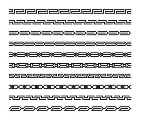 bordes decorativos: Conjunto de patrones sin fisuras geom�tricas en estilo oriental Vectores