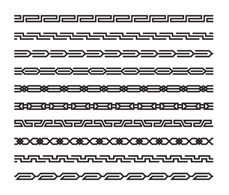 Set of geometric seamless patterns in oriental style