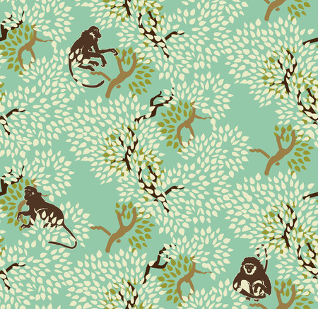 Abstract floral seamless pattern. Trees and monkeys. Exotic forest motif background