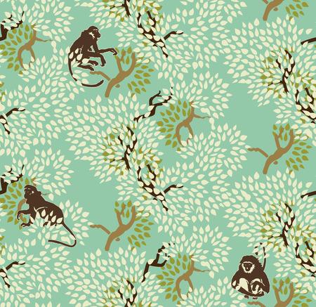 Modelo inconsútil floral abstracto. Los árboles y monos. Fondo del bosque exótico motivo