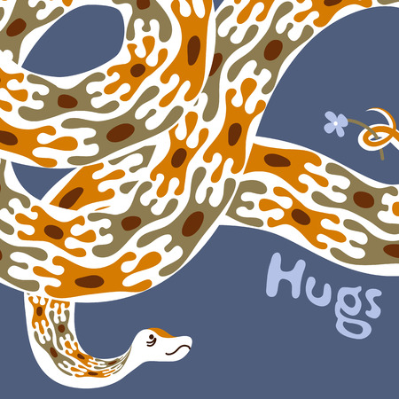 boa: Greeting card design template. Hand-drawn cute animal character illustration. Boa constrictor giving hugs
