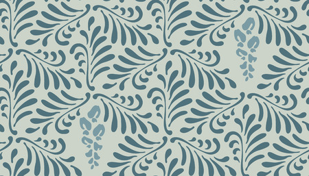 Floral seamless pattern background. Ornament with stylized leaves and flowers on hexagonal grid Illustration