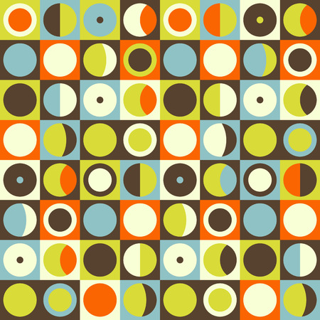 Geometric abstract seamless pattern. Retro 60s style and colors. Squares, circles composition 矢量图像