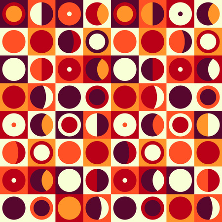 retro disco: Geometric abstract seamless pattern. Retro 60s style and colors. Squares, circles composition Illustration