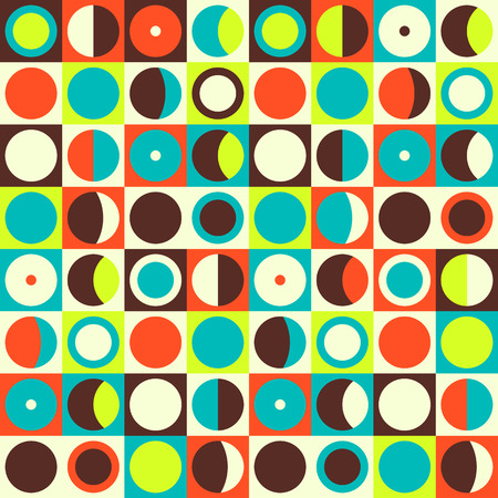 Geometric abstract seamless pattern. Retro 60s style and colors. Squares, circles composition Vettoriali