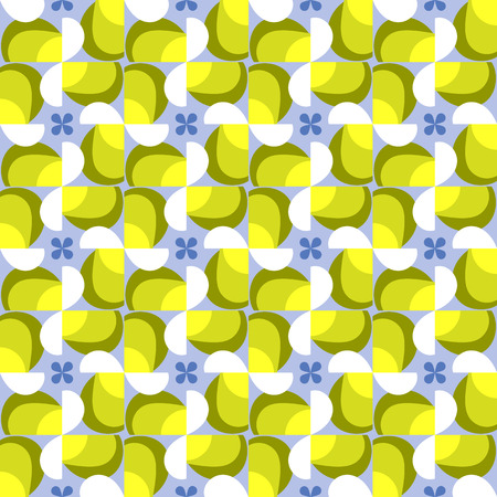 retro circles: Abstract seamless pattern motif background. Geometric colorful shapes in tints of yellow and blue composition