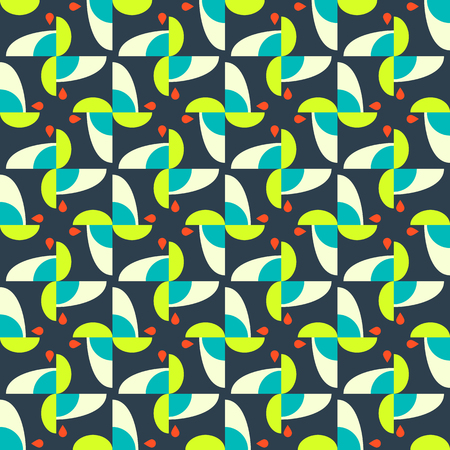 tints: Abstract seamless pattern motif background. Geometric colorful shapes in tints of green and orange composition