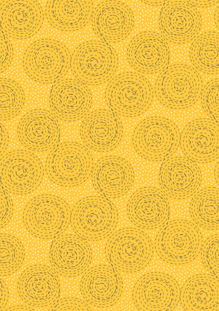 dashed line: Abstract seamless pattern background. Dashed line swirls, spirals, circles and dots. Brown, white on yellow Illustration
