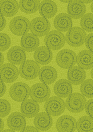 dashed: Abstract seamless pattern background. Dashed line swirls, spirals, circles and dots. Dark blue, yellow on green Illustration