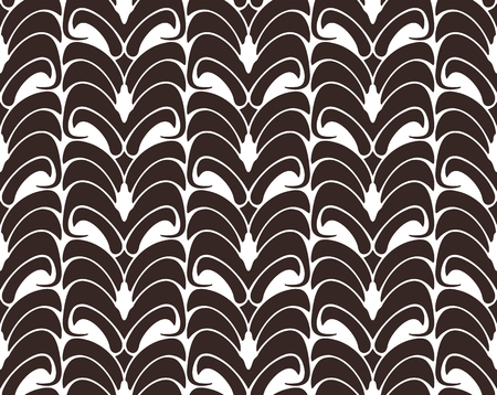 Floral seamless pattern background. Ornament with stylized leaves on hexagonal grid. Monochrome classical motif Illustration