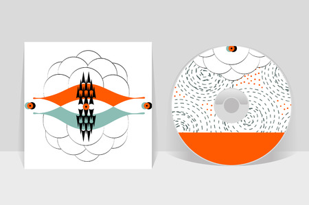 CD cover design template. Abstract linear pattern graphics Illustration