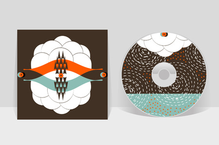 business style: CD cover design template. Abstract linear pattern graphics Illustration