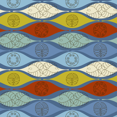 Abstract seamless pattern. Modern style motif. Linear floral geometric elements on blue background