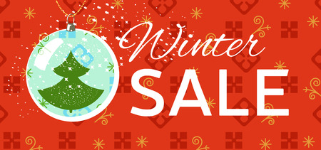 Winter sale tag. Christmas, New Year price card. Ball with new year tree inside