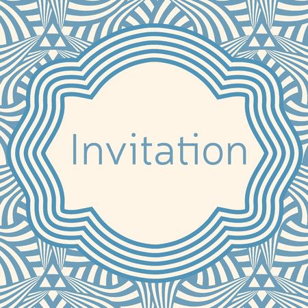 Invitation, wedding or greeting card template. Elegant frame over pattern background design.