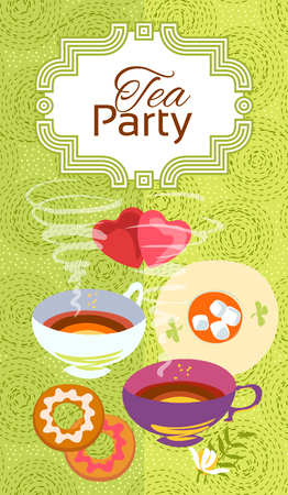 bleed: Tea party invitation card. Frame over pattern background, colorful illustration. Clipping mask applied in EPS to hide bleed area