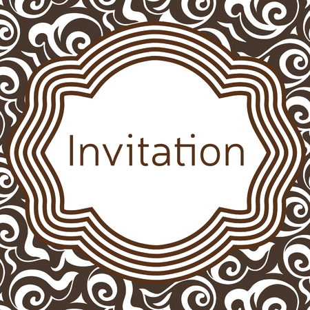 applied: Invitation, wedding or greeting card template. Elegant frame over pattern background design. Clipping mask applied in EPS to hide bleed area. Print size 145 x 145 mm