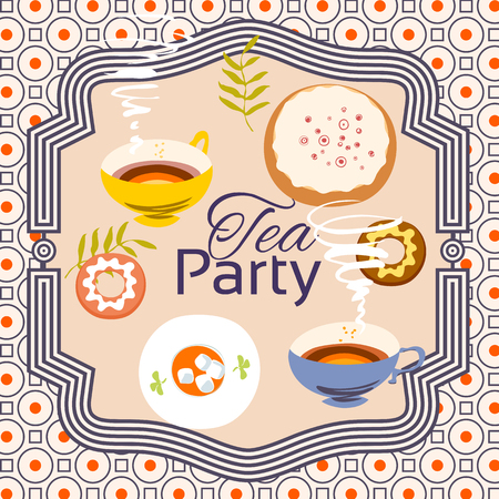 bleed: Tea party invitation card. Frame over pattern background, colorful illustration. Clipping mask applied in EPS to hide bleed area. Print size 145 x 145 mm