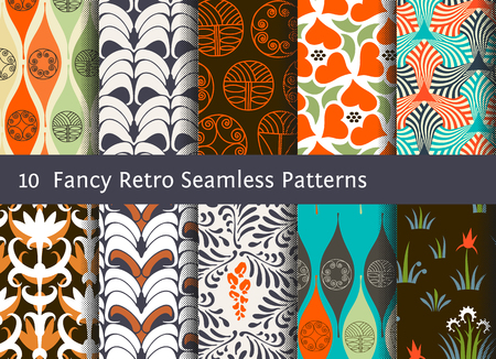 retro patterns: Abstract seamless patterns. Geometrical and floral ornamental motifs. Retro style set Illustration