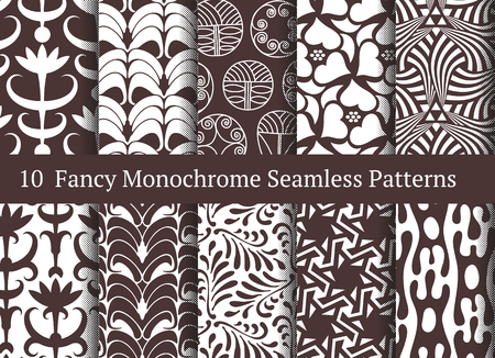 floral elements: Abstract seamless patterns. Geometrical and floral ornamental motifs. Retro style set Illustration