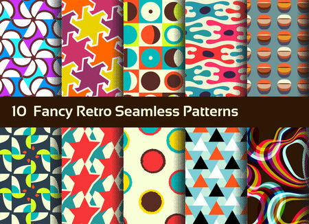 retro circles: Abstract seamless patterns. Geometrical and ornamental motifs. Retro style Illustration