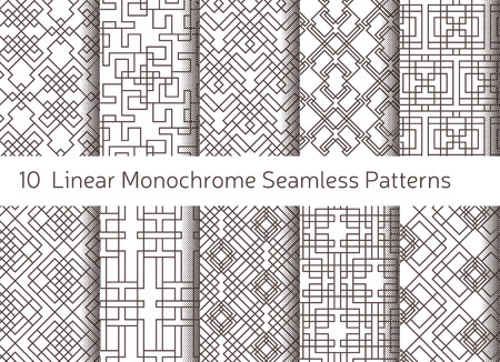 decoration: Geometric abstract seamless pattern. Linear motif background. Monochrome decoration design