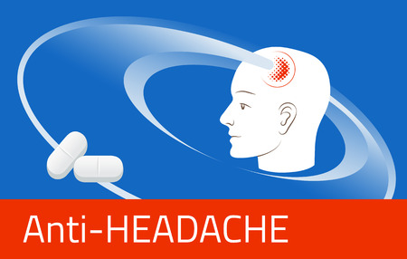 aching: Headache relief medicine. Medication packing design template. Illustration of pills against pain in head