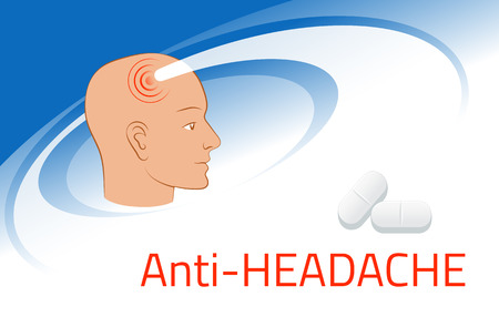Headache relief medicine. Medication packing design template. Illustration of pills against pain in head
