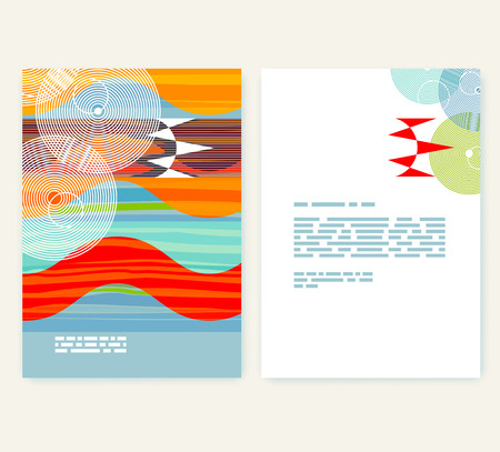 futurism: Leaflet, booklet layout. Editable design template. A4 brochure with abstract elements and patterns