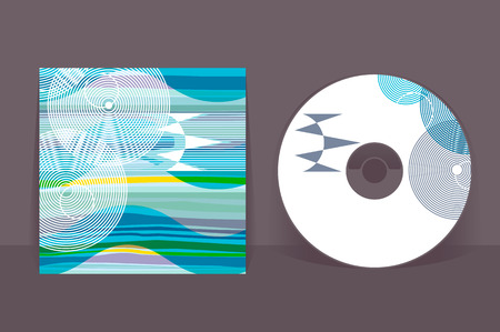 CD cover design template. Abstract pattern graphics. Editable design template. Clipping mask applied to hide bleed area