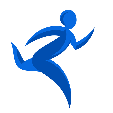 Abstract runner symbol. Winner courier illustration. Movement express graphics