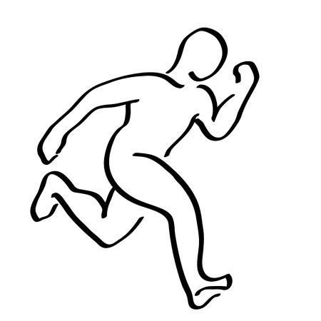 Abstract running man symbol. Winner runner illustration. Movement graphics