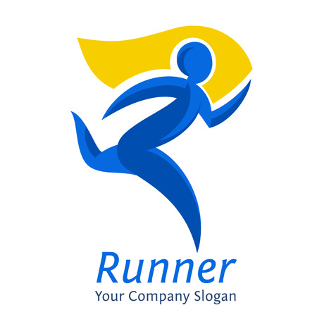 Abstract runner symbol. Company template. Movement express graphic concept