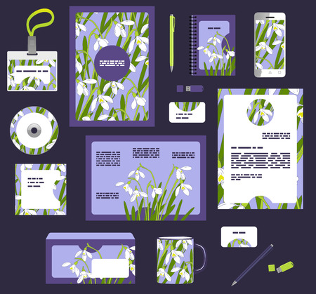 Corporate style business templates. Set of spring floral design