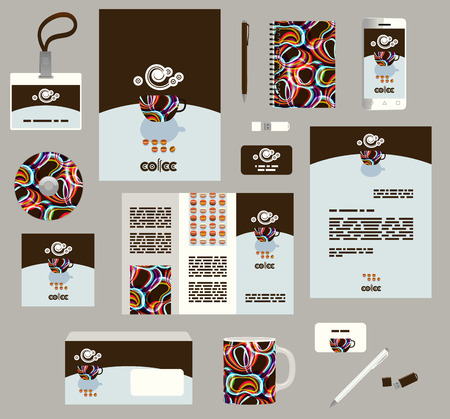 Corporate style business templates. Set of modern abstract graphic design. Seamless patterns included in EPS
