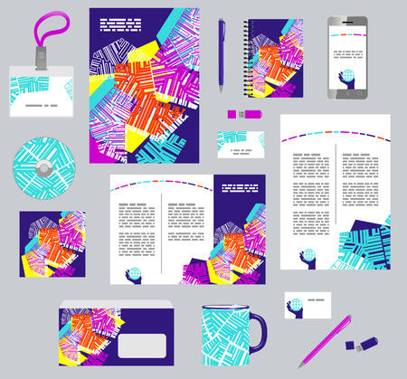 Corporate style business templates. Set of modern abstract graphic design. Seamless pattern included Illustration