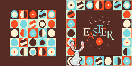 Happy Easter greeting card design. Retro style eggs pattern, bunny