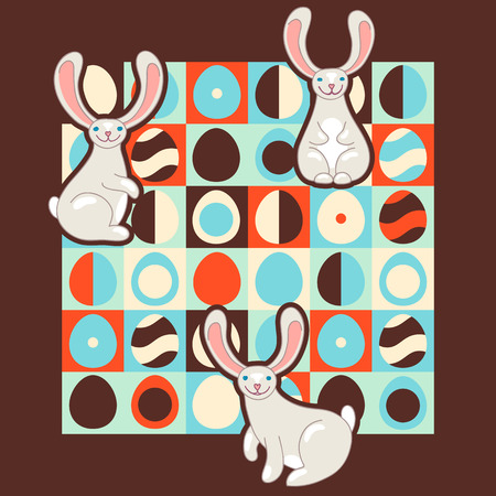 Easter illustration with retro style eggs and cute bunnies