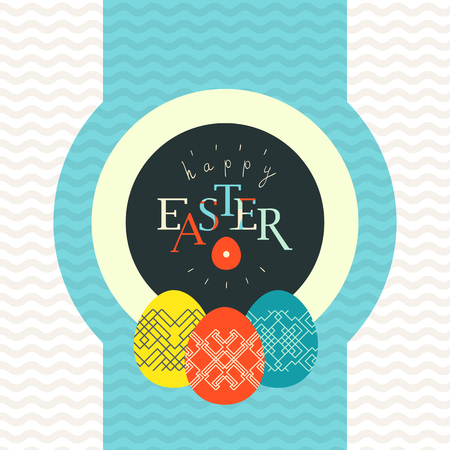 Happy Easter greeting card design. Pained eggs decorated with linear pattern