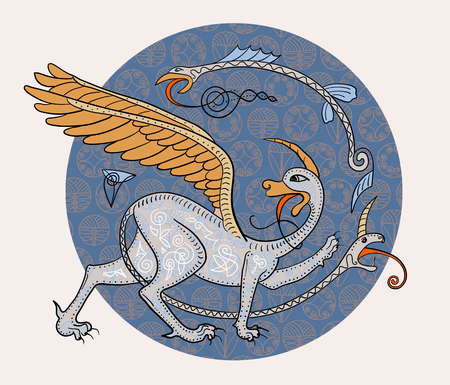 griffon: Griffin fantasy monster creature. Medieval style illustration circle decorative composition