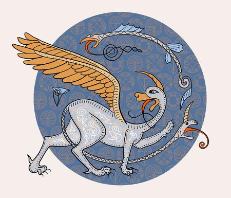 Griffin créature imaginaire de monstre. Médiéval illustration cercle de style composition décorative