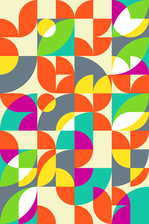 Geometric abstract seamless pattern motif background. Colorful shapes of circles, semicircles and leaves Illustration