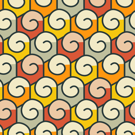 Geometric abstract seamless pattern. Linear motif background. Colorful shapes of spirals and hexagonal grid Illustration
