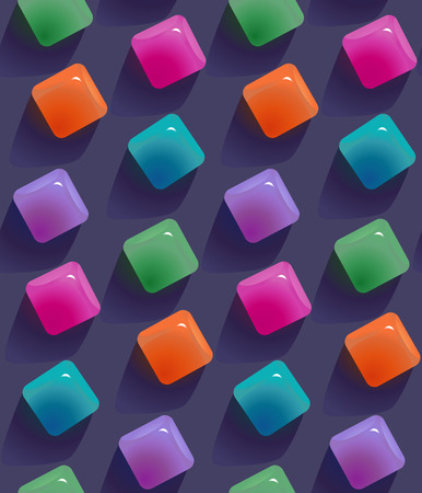 Gemstones abstract seamless pattern.  Colorful transparent jelly cubes motif background. Trendy style vector illustration in vibrant colors Illustration