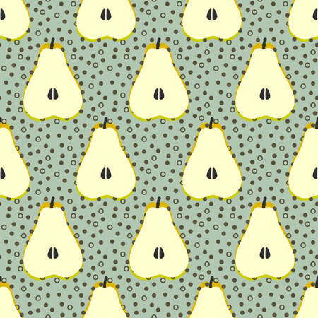 the sixties: Pear fruit motif seamless pattern. Colorful decoration design background. Trendy memphis style illustration with dots and circles Illustration