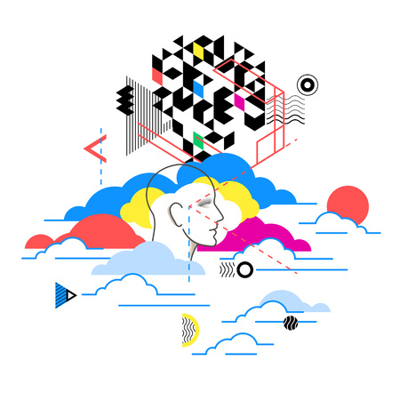 Cloud computing services, technology metaphor. Illustration