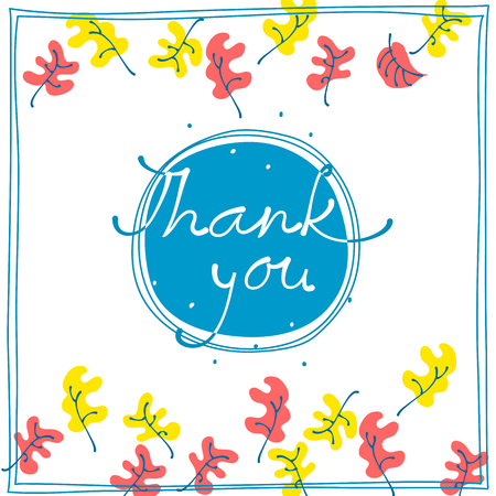 Thank you card design template simple greeting card elegant thank you card design template simple greeting card elegant with falling leaves on blue background m4hsunfo