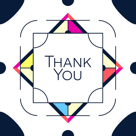 Thank you greeting card thanksgiving design. Abstract geometric elements. Layout template card, invitation, brochure, flyer, cover. Elegant frame and geometrical linear pattern background design Illustration