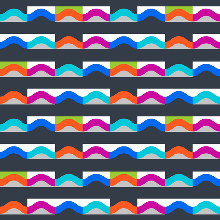 Waves geometric seamless pattern. Simple motif background. Colorful decoration design
